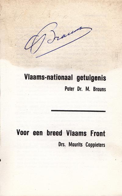 Vlaams-nationaal getuigenis - Voor een breed Vlaams front