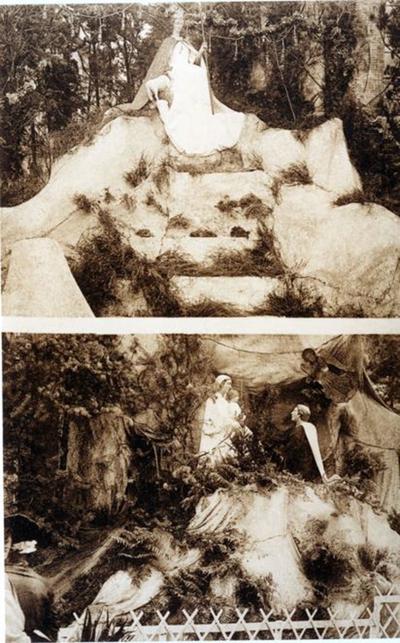 Foto: straatversiering: Park met de Goddelijke Herderin, Groenplein en Onze-Lieve-Vrouw van de Missiën, Kempische Poort (?) (Virga Jessefeesten, Hasselt, 1926)