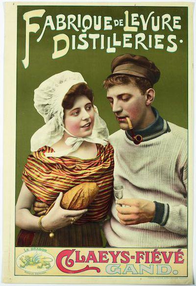 Affiche 'Fabrique de Levure, Distillerie Claeys-Fiévé', voor stokerij Claeys-Fiévé, Gent, ca. 1905-1910