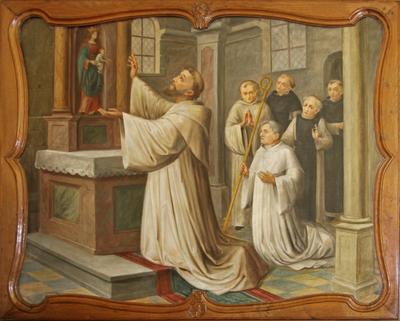 Mariabeeld begroet de heilige Bernardus van Clairvaux