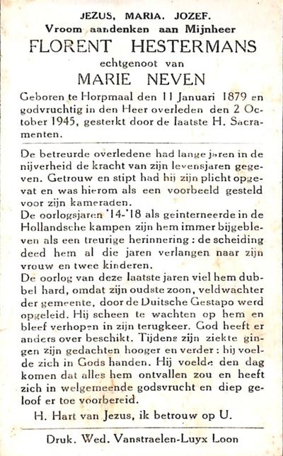 Doodsprent met foto van Hestermans Florent