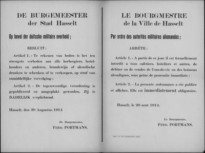 Stad Hasselt, affiche van 20 augustus 1914 - verbod van alcohol.