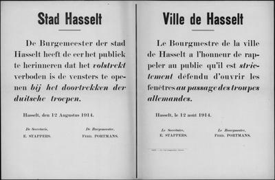 Stad Hasselt, affiche van 12 augustus 1914 - verbod vensters te openen.