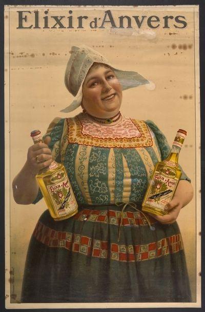 Interieuraffiche 'Elixir d'Anvers' voor stokerij De Beukelaer, Antwerpen, 1908