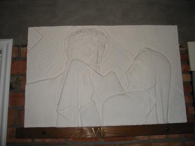 Statie 6 - Veronica droogt het aangezicht van Jezus af.
