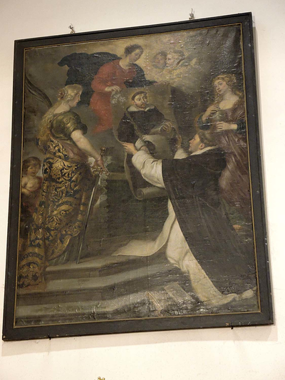 Thomas van Aquino ontvangt een schilderij van de H. Dominicus