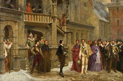 Het laatste onderhoud van Henri III met hertog de Guise aan de trap van het kasteel van Blois