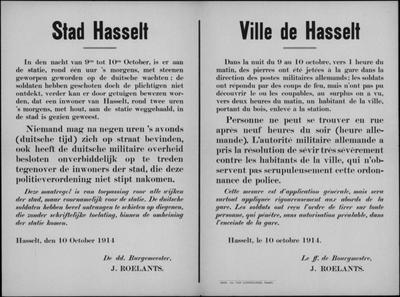 Stad Hasselt, affiche van 10 oktober 1914 - optreden tegen overtreders.