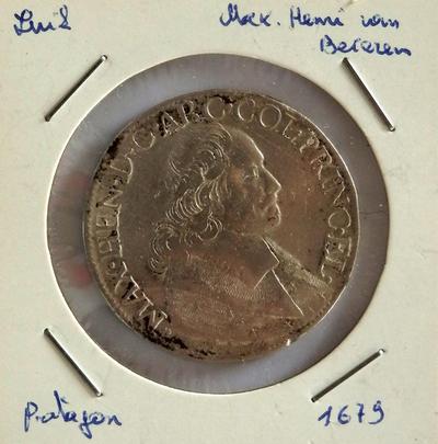 Patagon, geslagen te Luik, 1679, Maximiliaan-Hendrik van Beieren, zilver