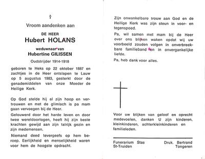 Doodsprent van Holans Hubert