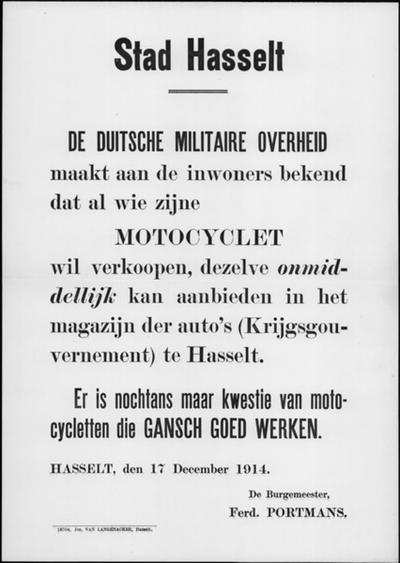 Stad Hasselt, affiche van 17 december 1914 - verkoop motorfietsen.