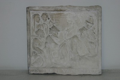 Kruisweg statie: Simon van Cyrene helpt het kruis dragen (13 DOCH VAN HIE)