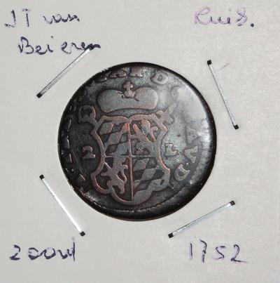 2 Oord, geslagen te Luik, 1752, Johan-Theodoor van Beieren, koper