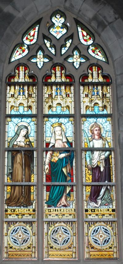 glas-in-loodraam S. Angela, S. Elisabeth, S. Ursula