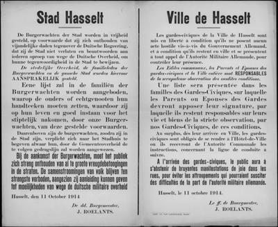 Stad Hasselt, affiche van 11 oktober 1914 - vrijlaten burgerwacht en samenscholingsverbod.