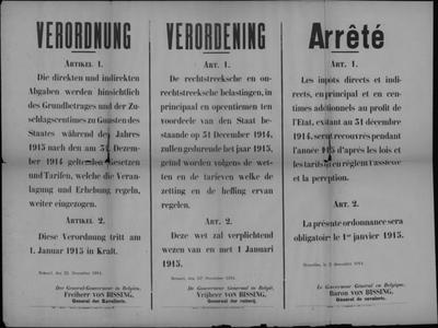 Brussel, affiche van 23 december 1914 - innen belastingen voor 1914.