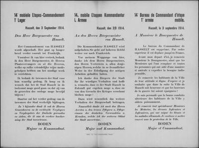 Hasselt, affiche van 3 september 1914 - Hasselt verlaten.