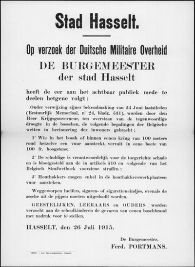 Stad Hasselt, affiche van 26 juli 1915 - bepalingen inzake voorkomen van bosbranden.