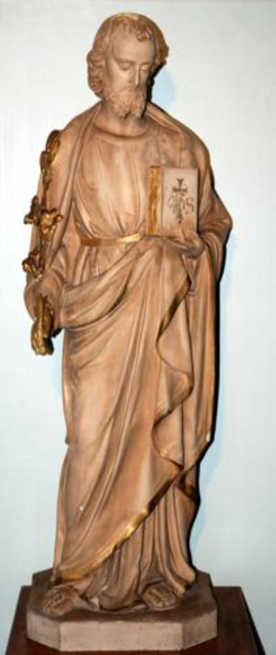 Plaasteren beeld Sint Jozef.