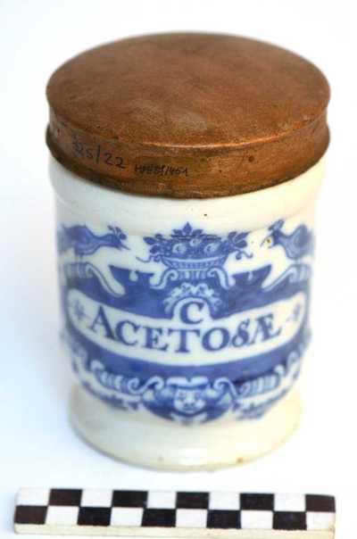 Delfts blauwe apothekerspot; C ACETOSÆ en LACTAS FERRI