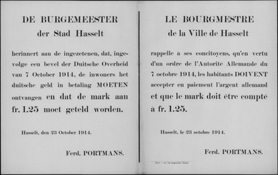 Stad Hasselt, affiche van 23 oktober 1914 - waarde Duitse mark.