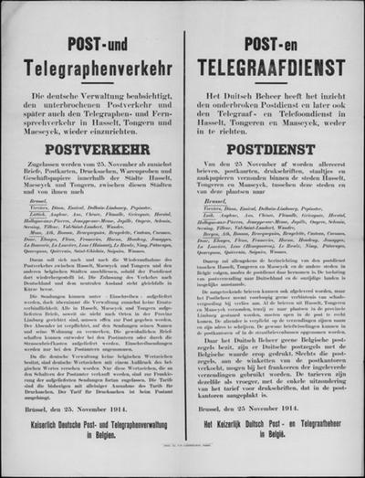 Brussel, affiche van 25 november 1914 - postdienst Hasselt, Tongeren en Maaseik.
