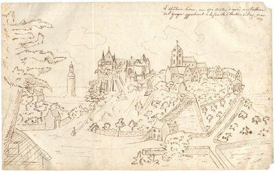 Le château-César, au 17e Siècle, d'après un tableau de l'époque appartenant à la famille d'Udekem d'Acoz. 25 nov. I869
