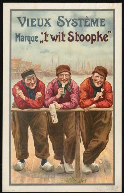 Affiche 'Vieux Système Marque 't Wit Stoopke'voor stokerij Jacques Neefs, Antwerpen, 1907
