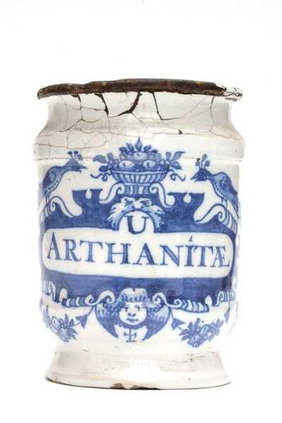 Delfts blauwe apothekerspot; U ARTHANITÆ