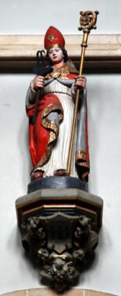 Houten beeld van Heilige Blasius.
