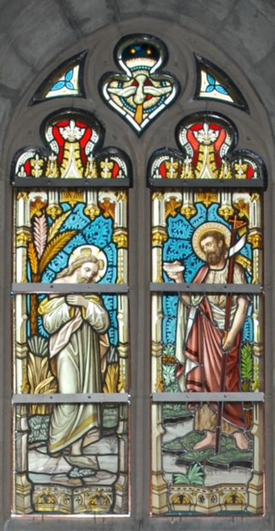 glas-in-loodraam het doopsel van Christus in de Jordaan