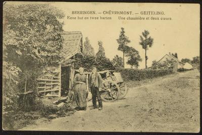 Beeringen. Chèvremont. Une chaumière et deux coeurs Geiteling. Eene hut en twee harten