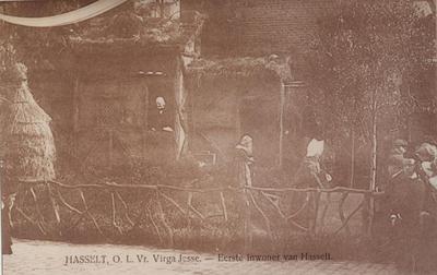 Foto: straatversiering: Hendrik, eerste inwoner van Hasselt, Dorpsstraat / Minderbroedersstraat (Virga Jessefeesten, Hasselt, 1905)