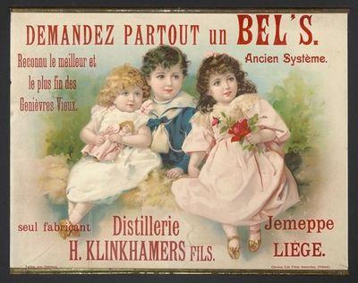 Interieuraffiche 'Demandez partout un Bel's' voor stokerij H. Klinkhamers, Jemeppe-sur-Meuse, ca. 1905