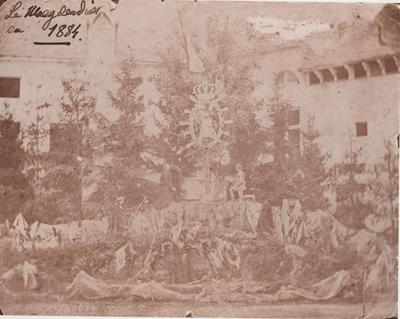 Foto: straatversiering: Maagdendries (Virga Jessefeesten, Hasselt, 1884)