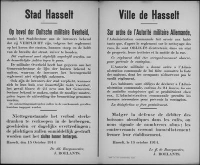 Stad Hasselt, affiche van 15 oktober 1914 - vegen van straten, besmettelijke ziekten, verbod verkoop alcohol.