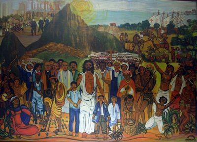 Verrezen Christus temidden Latijns-Amerikaanse martelaren