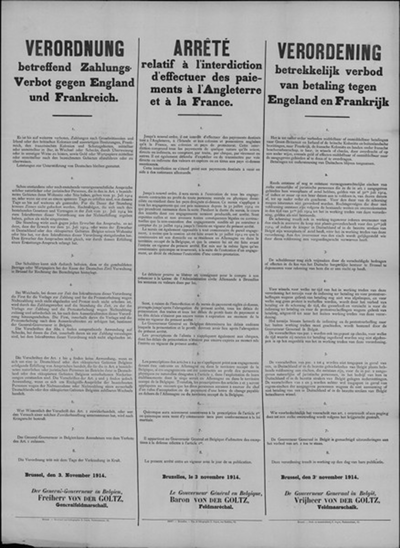 Brussel, affiche van 3 november 1914 - verbod op betalingen.
