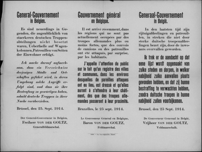 Brussel, affiche van 25 september 1914 - straf op overval Duitse konvooien.