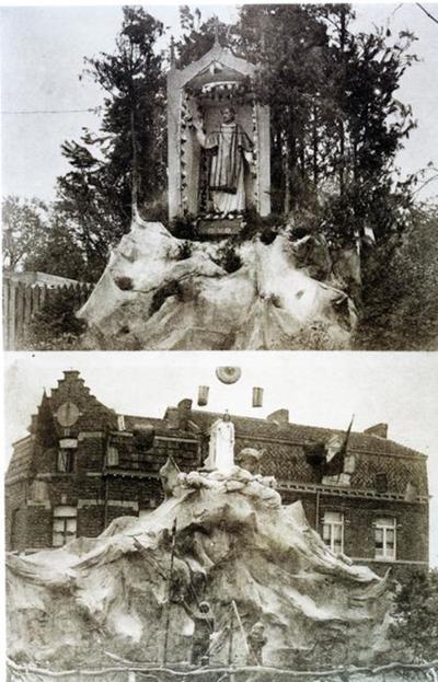 Foto: straatversiering: Onze-Lieve-Vrouw, Sterre der zee, Windmolenstraat en een met een heilige (Virga Jessefeesten, Hasselt, 1926)