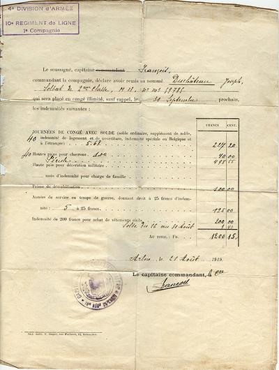 Document onbepaald verlof van Duchateau Jean
