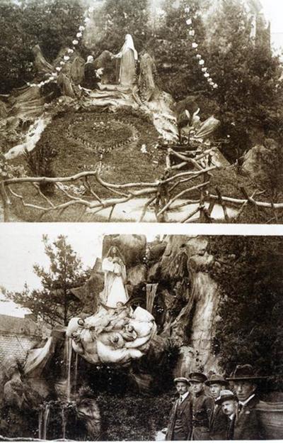 Foto: straatversiering: Onze-Lieve-Vrouw van den Carmelusberg het scapulier overhandigend aan Simon Stock, Dokter Willemsstraat en Onze-Lieve-Vrouw Hemelvaart, Fruitmarkt (Virga Jessefeesten, Hasselt, 1926)