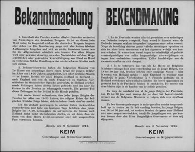 Hasselt, affiche van 6 november 1914 - verbod op verspreiden propaganda en verbod aan jonge mannen om het land te verlaten.