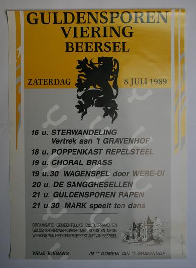 Affiche van de Guldensporenviering Cultuurraad Beersel in 1989