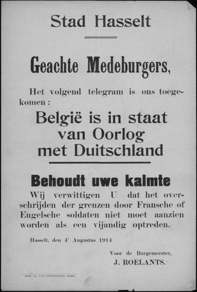 Stad Hasselt, affiche van 4 augustus 1914 - België in oorlog met Duitsland.