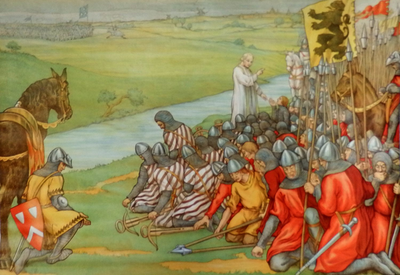 10. De Vlaamsche gemeentenaren voor den Slag der Gulden Sporen