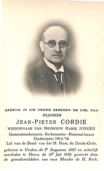 Doodsprent Cordie Pierre Jean