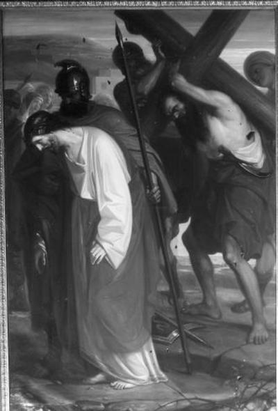 5e statie van de kruisweg, Simon van Cyrene helpt Jezus' kruis dragen