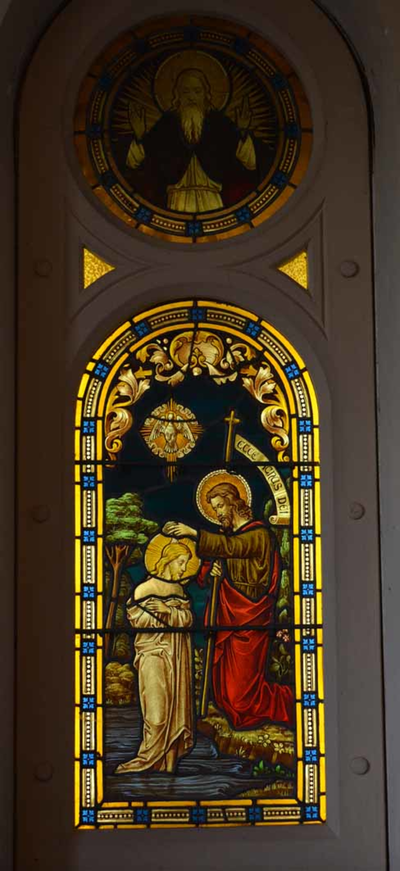 Glasraam met doopsel van Christus
