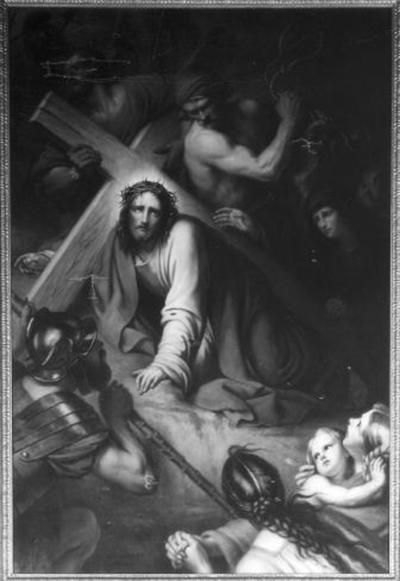 7e statie van de kruisweg, Jezus valt voor de tweede maal onder het kruis